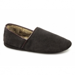 DAVID Mens Suede Faux Fur Wide Fit Full Slippers Brown
