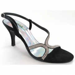 Ladies Buckle Diamante Stiletto Shoes Black