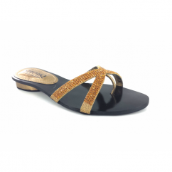 Ladies Slip On Flat Mule Diamante Sandals Bronze
