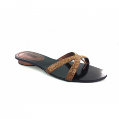 Ladies Diamante Slip On Cross Mule Sandals Bronze