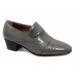 EDUARDO Mens Leather Cuban Heel Slip-On Shoes Grey