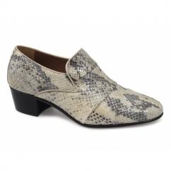EDUARDO Mens Snakeskin Cuban Heel Shoes Natural