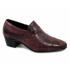 EDUARDO Mens Snakeskin Cuban Heel Shoes Red
