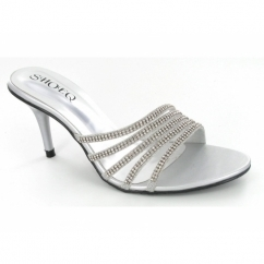 Ladies Diamante Slip On Stiletto Shoes Silver
