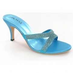 Ladies Slip On Diamante Slim Heel Evening Shoes Turquoise