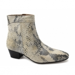 EMMANUEL Mens Snakeskin Leather Cuban Heel Boots Natural