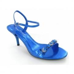 Ladies Strappy Buckle Diamante Jewel Stiletto Heels Blue