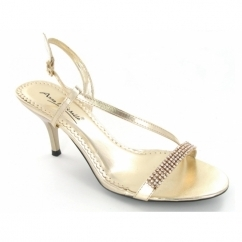 Ladies Strappy Buckle Diamante Stiletto Heels Shoes Gold