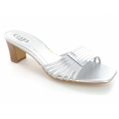 Ladies Slip On Strappy Open Toe Block Heel Shoes Silver
