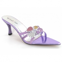 Ladies Strappy Open Toe Sequin Slim Heel Party Shoes Purple