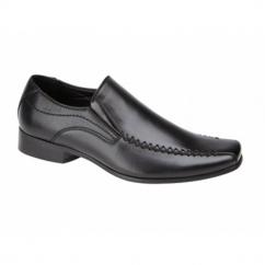 RAVEN Boys Faux Leather Slip On School Shoes Black