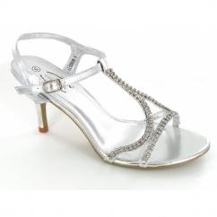 Ladies Kitten Heel Buckle Diamante Evening Shoes Silver