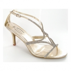 Ladies Open Buckle Stiletto Diamante Shoes Gold