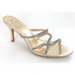 Ladies Kitten Heel Diamante Evening Shoes Gold