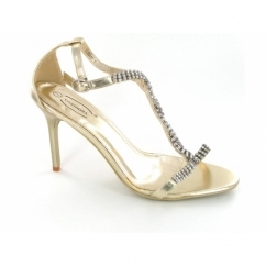 Ladies Buckle Diamante Stiletto Heel Shoes Gold