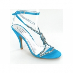 Ladies Buckle Diamante Slim Heel Shoes Turquoise Blue