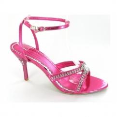Ladies Buckle Diamante Stiletto Heel Shoes Pink