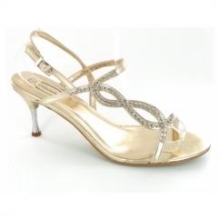 Ladies Buckle Diamante Kitten Heel Shoes Gold