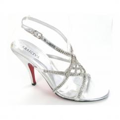 Ladies Strappy Buckle Diamante Shoes Silver
