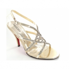 Ladies Buckle Diamante Strappy Stiletto Shoes Gold