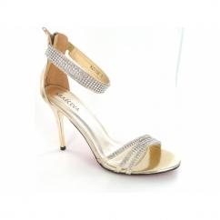 Ladies Diamante Zip High Heel Stiletto Shoes Gold