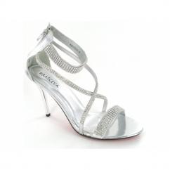 Ladies Diamante Zip High Heel Stiletto Shoes Silver