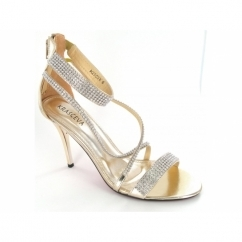 Ladies Zip Stiletto Diamante Strappy Shoes Gold