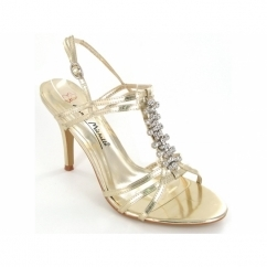 Ladies Buckle Diamante Strappy Shoes Gold