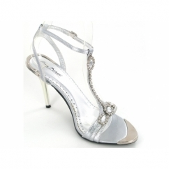 Ladies Stiletto Strappy Diamante Shoes Silver