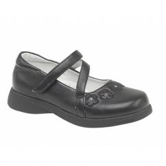 LOLA Girls Kids Velcro Bar Floral School Shoes Black