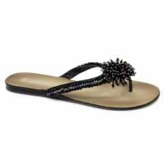 DELILAH Ladies Satin Beaded Brooch Flip Flops Sandals Black