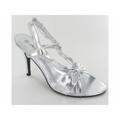 Ladies Open Strappy Slim Shoes Silver