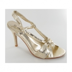Ladies Open Strappy Slim Shoes Gold