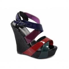 JANICE Ladies Wedge High Heel Buckle Patent Sandals Multi