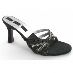 Ladies Slim Heel Slip On Diamante Shoes Black