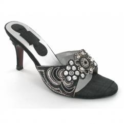 Ladies Slim Heel Diamante Sequin Shoes Black