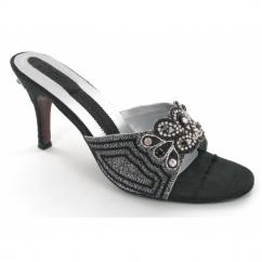 Ladies Black Slip On Diamante Shoes Black