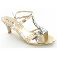Ladies Slim Heel Diamante Open Toe Evening Shoes Gold