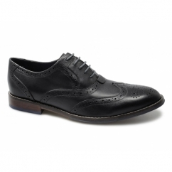 STYLE BROGUE Mens Leather Lace-Up Shoes Black