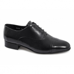 LUTHER Mens Leather Oxford Toe Cap Shoes Black