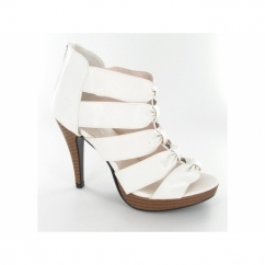Ladies Faux Leather Zip Strappy Studded Stiletto Shoes White