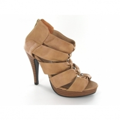 Ladies Strappy Zip Studded High Heel Shoes Apricot