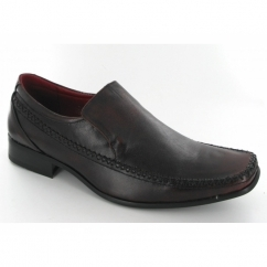 Mens Leather Chisel Toe Slip On Shoes Brown