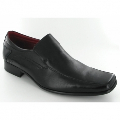 Mens Leather Chisel Toe Slip On Shoes Black
