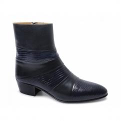 ENRIQUE Mens Cuban Heel Reptile Leather Boots Navy