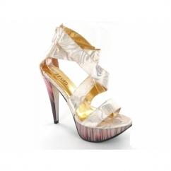 Ladies Strappy Platform High Slim Heel Shoes Gold