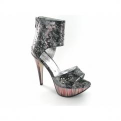 Ladies Zip Very High Heels Reptile Metallic Shoes Black