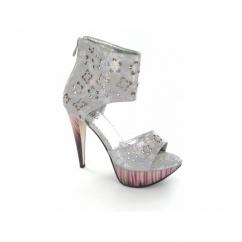 Ladies Zip Very High Heels Reptile Metallic Shoes Grey