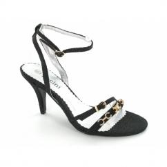 Ladies Denim Diamante Strappy Slim Heels Shoes Black