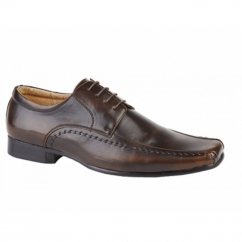 MICAH Mens Faux Leather Chisel Toe Gibson Shoes Brown